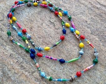 Paper Bead Necklace #2 Handmade Uganda Multi Colored Good Cause Non Profit Vibrant Bright