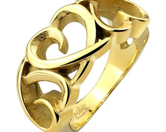 Three Hollow Heart Gold IP Stainless Steel Cast Ring