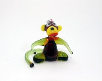 Glass Monkey cap Figurine Ape Figurine Glass Figure miniature glass lampwork glass monkey sculpture monkey figurine new year gift(016)