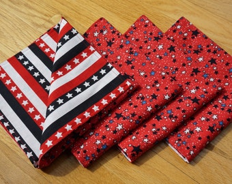 4th of July Cloth Napkins, Set of 4, Stars and Stripes, Reversible, Patriotic Napkins, Red White and Blue, July 4th Cloth Napkins, American