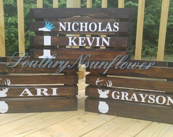 Personalize large Rustic crate/ nursery/wedding personalized/ decor/wooden nursery crate/wooden wedding crate/Customized crate/nautical