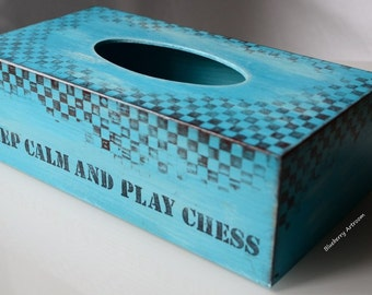 Tissue holder, tissue box cover. Keep calm and play chess.
