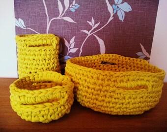 Handmade Decorative storage Basket Set,  Basket with Handles, Cotton Crochet Baskets