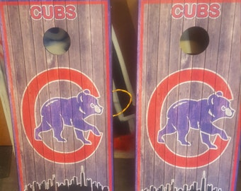 Custom Made Cornhole Bean Bag Toss BOARDS Chicago Cubs rustic WOOD Free Bags Free Carrying Case for your boards, free name banners!!