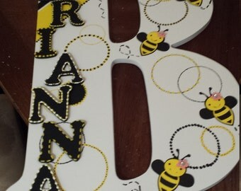 Bumblebees  18in wood letter name sign kid
