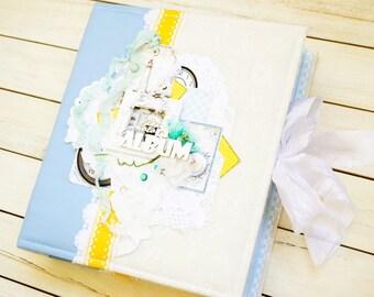 Sold! Wedding photo album in nautical style, weding gift, blue scrapbook album, family photo album, travel album, marine album, see album