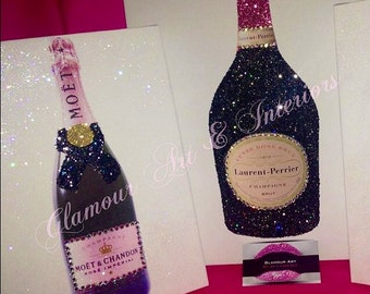 Glitter and Swarovski Wall Art personalised Champagne Chanel HotLips Sisters Girls NightIn