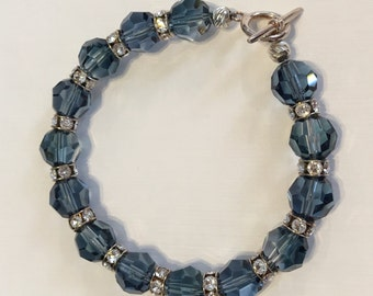 The Diana Bracelet in Great Lakes. Crystal Clear and Montana Blend Swarovski Crystals Bracelet. Navy Swarovski and Sterling Silver Bracelet.