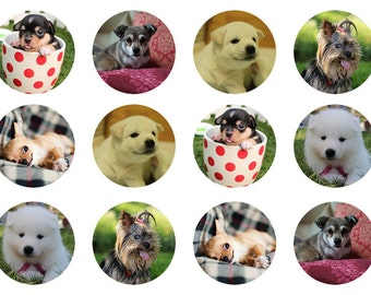 Dogs Cupcake Toppers, Puppies Edible Toppers, Edible Prints, Cute Puppies and Dogs, Wafer Paper, Edible Icing, Gift For Dog Lover
