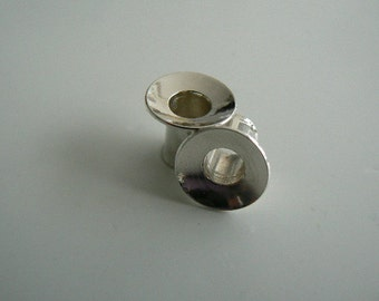 Silver plugs tunnels single flare 0ga (925/000, pair or set, sterling)