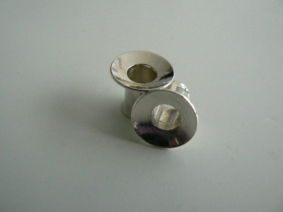 Silver plugs tunnels single flare 1ga (set, pair of, sterling 925/000)