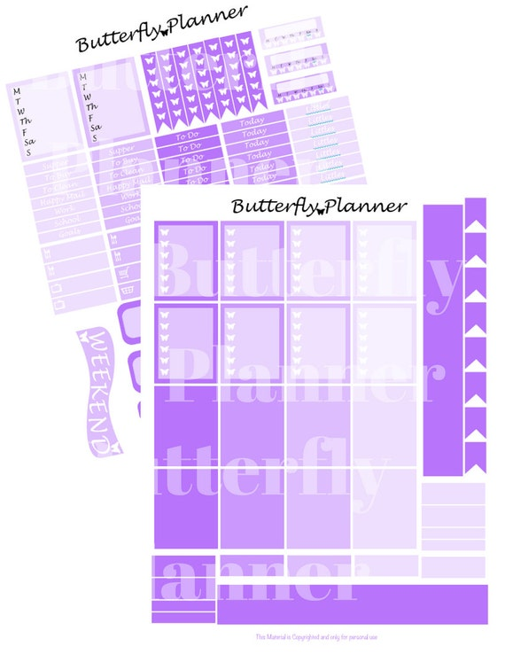 Purple Printable Planner Stickers 2 Pages