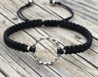Circle Bracelet, Circle Anklet, Adjustable Cord Macrame Friendship Bracelet, Karma Bracelet, Eternity Bracelet, Gift for Her, Minimalist