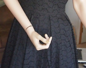 ON SALE-mid century- black textured dress - fifties dress- WAS 85