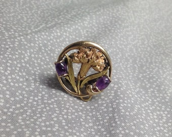 SALE!!! 14k Art Nouveau Flower ring, Amethyst stones