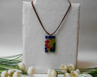 Multicolored necklace glass fusing. Pendant modern multicolored glass fusing. Idea gifts for them.