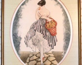 """Louis Icart """"Young Girl with Apple Basket"""" Print Etching"""