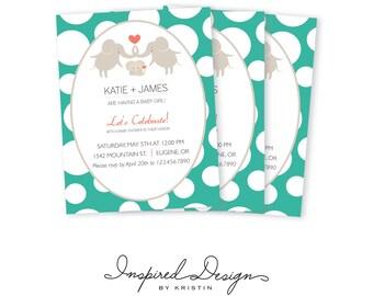 Elephant baby shower invitation, digital invitation, 5x7, pink, blue, green