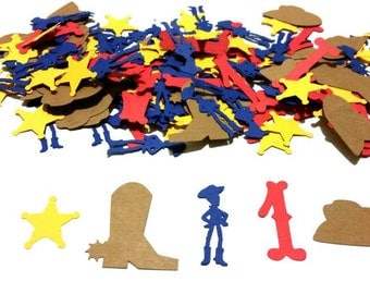 Oversized Woody Themed confetti , Toy Story themed confetti set of 150 pieces personalized with the number you choose