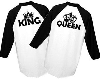 King & Queen 3/4 Sleeve Baseball Tee Set