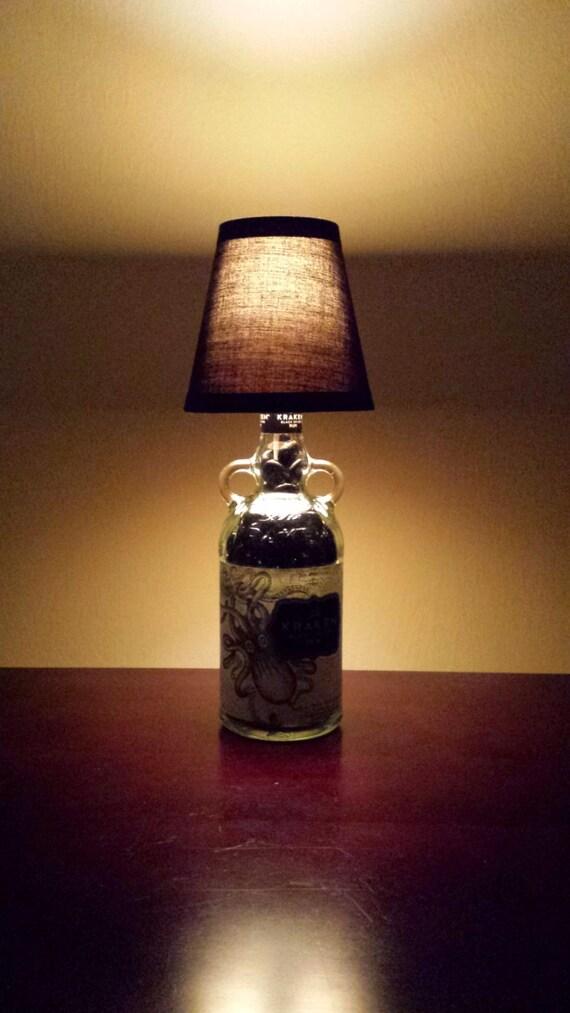 Handmade LED Kraken Black Rum Liquor Bottle Lamp