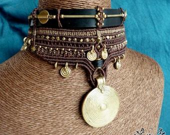 Unique tribal macramé necklace / upper arm piece