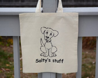 Personalized dog tote bag with your dog's name.