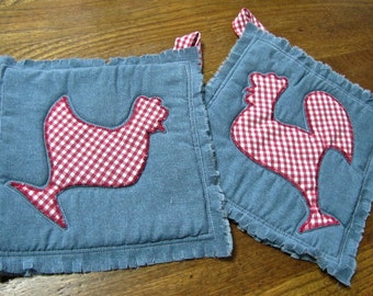 Recycled Hen & Rooster Potholders, set of two