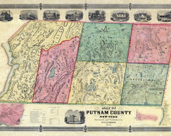 1854 Map of Putnam County New York