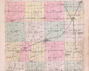 1893 Map of McDonough County Illinois Macomb