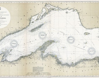 1895 Nautical Map of Lake Superior