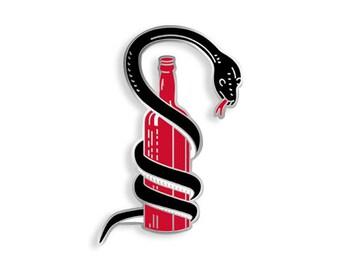 Snake Wine Enamel Pin