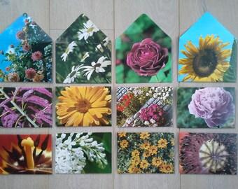 12 Unique handmade envelopes - FLOWERS