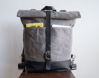 Waxed canvas backpack, Canvas backpack, Diaper backpack, Rolltop backpack, Wax canvas bag, Vegan leather bottom, Laptop backpack, Grey