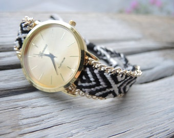Boho watch. Happy time watch.Bohemian watch,unique watch,watch,black and white watch