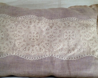 A Set of 2-Long Linen- Laces Decorative Pillows- from Schumacher's  Fabric
