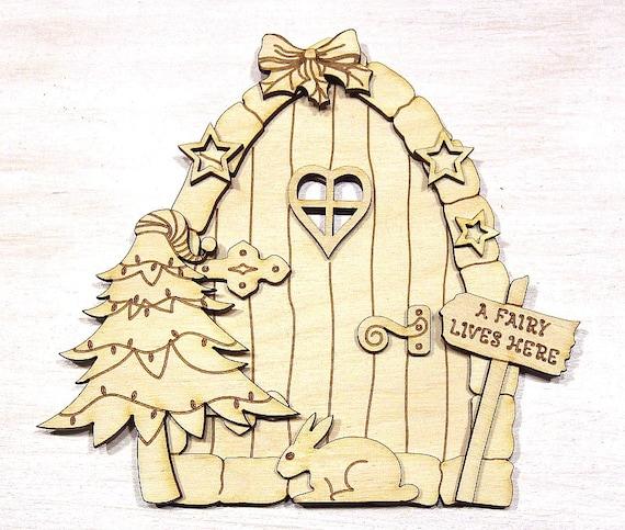 Fairy door christmas 3d elf wooden house by deltaartsstencils for Wooden elf door