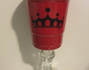 Red Solo Cup Wine Glass, monogram sticker, vinyl sticker, vinyl decal