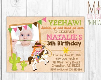 Western Cowgirl Photo Invitation,Western Cowgirl Birthday Invitation,Cowgirl Birthday Party, Cowgirl Printable invitation, western girl