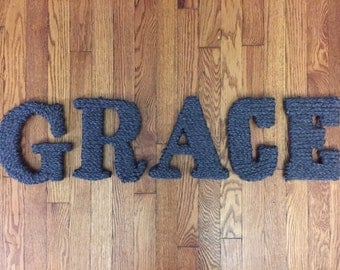 Yarn Letters spelling 'grace'