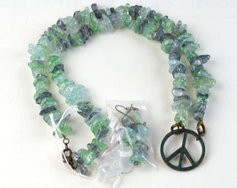 Peace Sign Necklace and Earrings