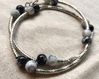 Silver tube wrap bracelet