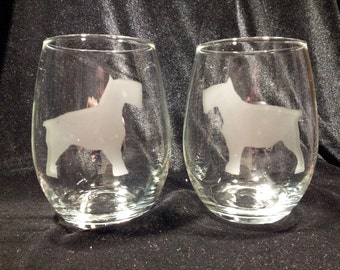 Schnauzer Stemless Wine Glasses (Pair)