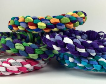 Rope Ring Dog Toy in CUSTOM colors made from Upcycled T-shirts