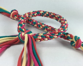 Tropical Teal, Yellow, Mango & Magenta Braided Rope Ring Dog Toy made from Upcycled T-shirts