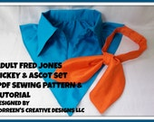 Fred Jones Adult Costume Collar and Ascot Sewing Pattern Digital Download, PDF Sewing Tutorial Mens Fred Jones Costume Sewing Tutorial, DIY