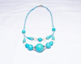 Bright Sky Blue Tibetan Turquoise Necklace