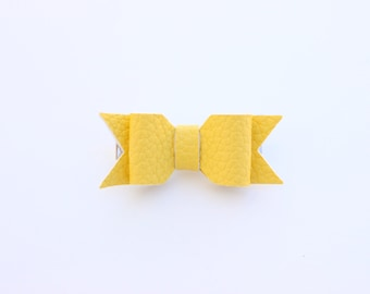 Sunny Yellow Leather Bow