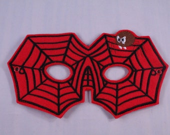 Red Spider Web Embroidered Mask