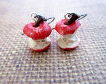 apples to the core earrings - realistic fruit